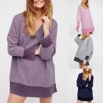 Fashion Contrast Color Long Sleeve V-neck Sweatshirt