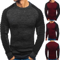 Fashion Contrast Color Long Sleeve Round Neck Wrinkled Man's Sweater