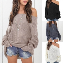 Sexy Off-shoulder Boat Neck Long Sleeve Solid Color Sweater