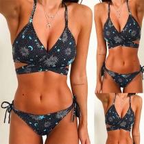 Bikinis con Estampado de Sujetador Halter con Relleno + Brasileña de Tiras