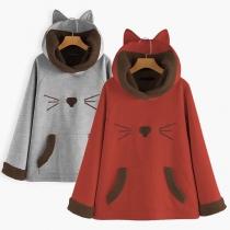 Cute Cat Printed Long Sleeve Hooded Plush Lining Sweatshirt