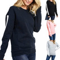 Casual Style Long Sleeve Round Neck Contrast Color Sweatshirt
