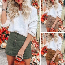 Fashion Solid Color High Waist Front-pokcet Skirt
