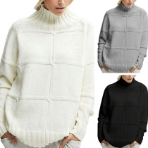 Fashion Solid Color Long Sleeve Mock Neck Loose Sweater
