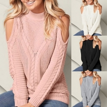 Sexy Off-shoulder Long Sleeve Mock Neck Solid Color Sweater