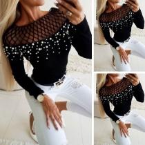 Sexy Blusa de Escote Calado con Perlas Sintéticas Manga Larga