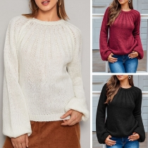 Fashion Solid Color Lantern Sleeve Round Neck Sweater