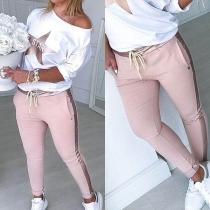 Chándal de Blusa con Estampado + Pantalón de Talle Alto con Cordones