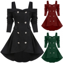 Sexy Off-shoulder Long Sleeve Double-breasted High-low Hem Dress