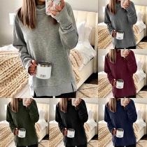 Fashion Solid Color Cowl Neck Slit Hem Loose Sweatshirt