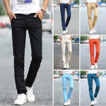 Fashion Solid Color Middle Waist Man's Casual Pants