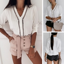 Fashion Solid Color 3/4 Sleeve V-neck Hollow Out Blouse