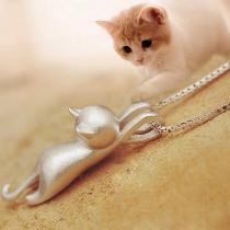 Collar con Colgante en Forma de Gato