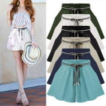 Fashion Solid Color Elastic Waist Wide-leg Shorts