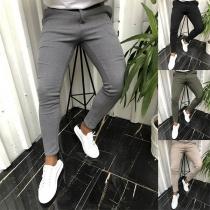 Pantalones Casuales de Hombre de Media Cintura de Color Sólido de Moda