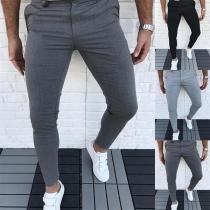 Pantalones para Caballero de Cintura Media de Estilo Simple