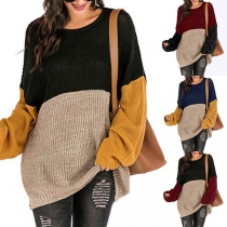 Suéter Fino de Bicolor Escote Redondo Manga Larga