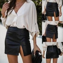 Mini Falda de Piel Sintética de Talle Alto Bajo con Abertura