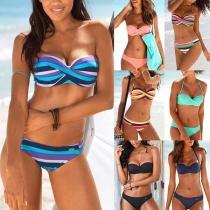 Sexy Bikini con Bandeau con Tirantes + Braga de Talle Bajo