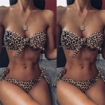 Traje de Bikini con Estampado Leopardo: Top cpn Relleno sin Aro + Braga de Talle Bajo con Correas