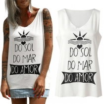 Fashion Letters Printed V-neck Tank Top