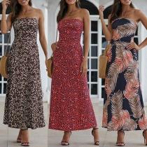 Sexy Strapless High Waist Printed Dress