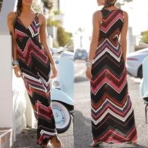 Sexy V-neck Sleeveless Colorful Wavy-stripe Printed Maxi Dress
