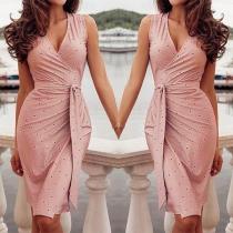 Sexy V-neck Sleeveless Slim Fit Printed Dress with Waist Strap
