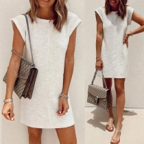 Simple Style Solid Color Short Sleeve Round Neck Dress