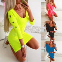 Fashion Solid Color 3/4 Sleeve Round Neck Slim Fit Dress