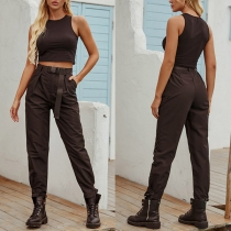 Retro Style High Waist Solid Color Casual Pants