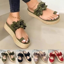 Sweet Style Thick-sole 3D Flower Sandals