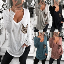 Fashion Long Sleeve V-neck Leopard Spliced T-shirt
