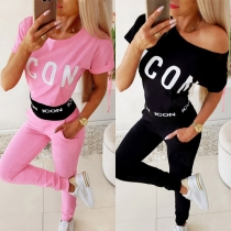 Fashion Letters Printed Short Sleeve Round Neck Sports Suit