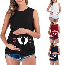 Cute Footprint Printed Sleeveless Maternity T-shirt