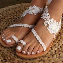 Sandalias de Flores de Encaje de Tacón Plano de Moda