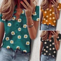 Fashion Short Sleeve V-neck Daisy printed Ruffle Blouse