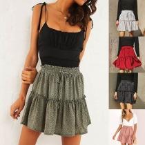 Mini Falda con Estampado de Talle Alto