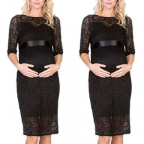 Fashion Half Sleeve Round Neck Lace Maternity Dress
