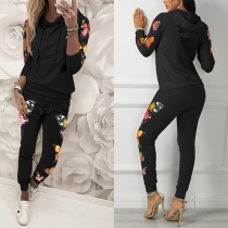 Fashion Butterfly Printed Long Sleeve Hooded Sweatshirt + Pants Two-piece Set