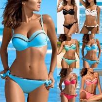 Sexy Bikinis de Bicolor con Braga de Talle Bajo