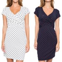 Fashion Short Sleeve V-neck Dots Printed Maternity Dress