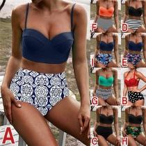 Sexy Bikini con Relleno sin Aro de Tirantes + Braga de Talle Alto con Estampdo