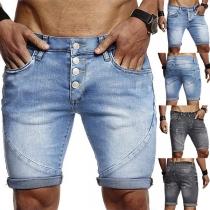 Fashion Middle-waist Knee-length Man's Denim Shorts