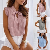 Sweet Style Sleeveless Bow-knot Collar Dots Printed Blouse