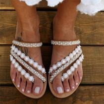 Sandalias de Tacón Plano de Encaje con Perlas Sintéricas