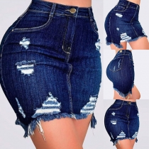 Fashion High Waist Slim Fit Ripped Denim Skirt