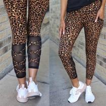 Fashion High Waist Gauze Spliced Leopard Printed Leggings