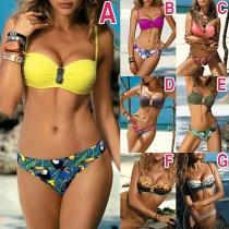 Sexy Conjunto de Bikini Estampado de Cintura Baja