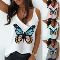 Sexy Blusa de Tirantes Escote en Pico con Estampado de Mariposa
